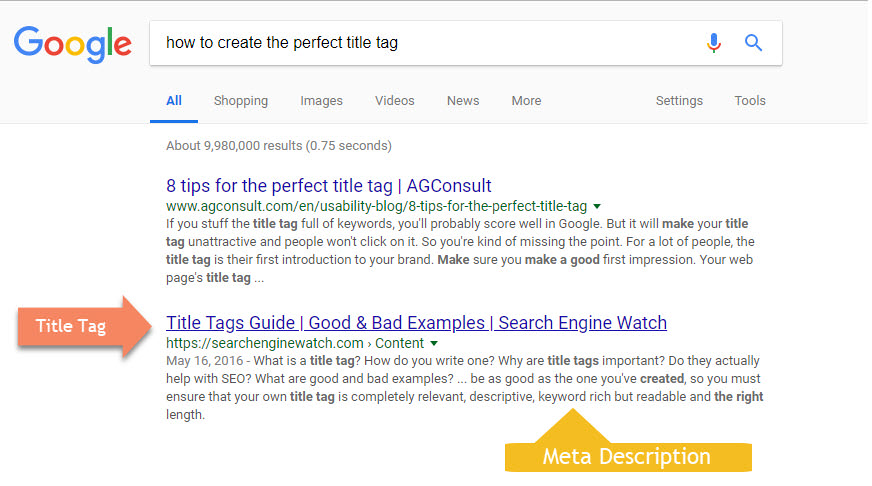 Example of title tag and meta description in google search results