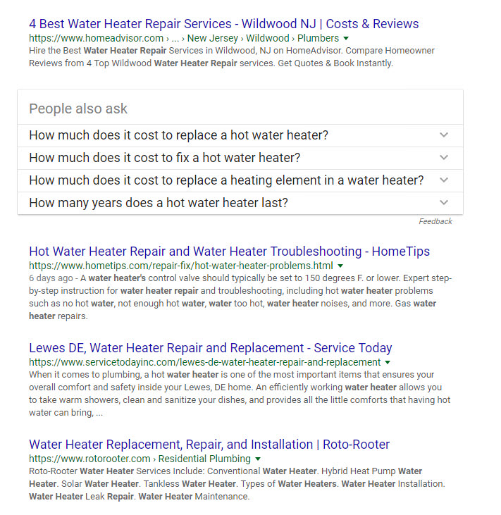 "search results displayed for query ""water heater repair"""
