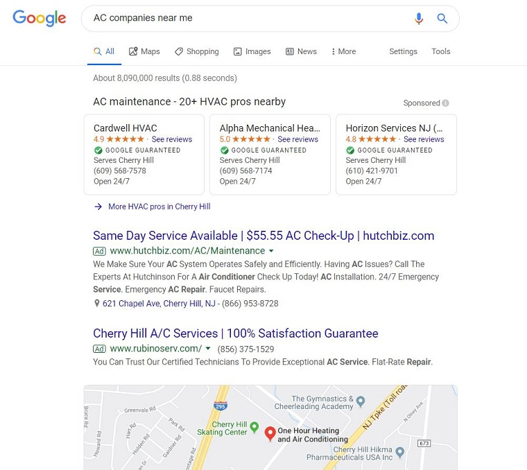 google search for ac company