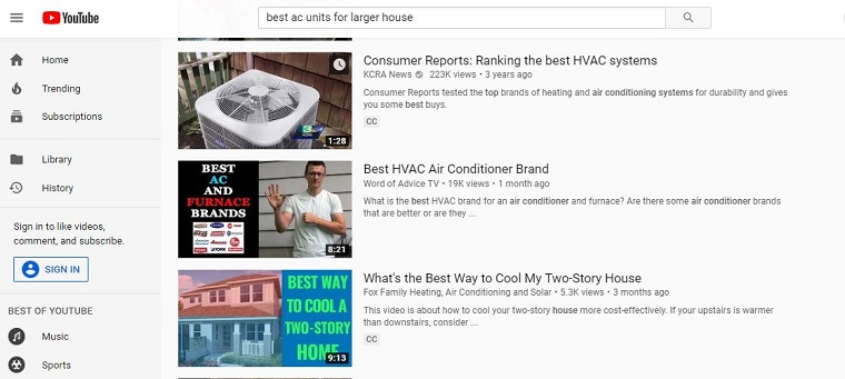 You tube results for the best ac units