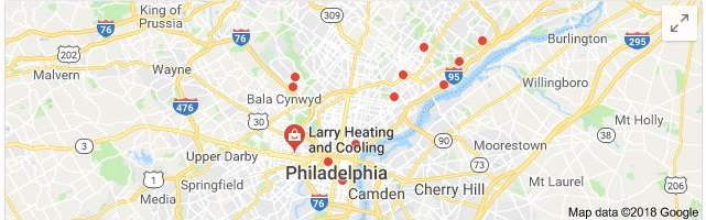 Google My Business Map Results for Philadelpha Heating and Cooling