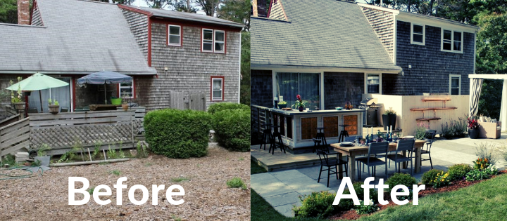 Before and after landscaping photos in cape code